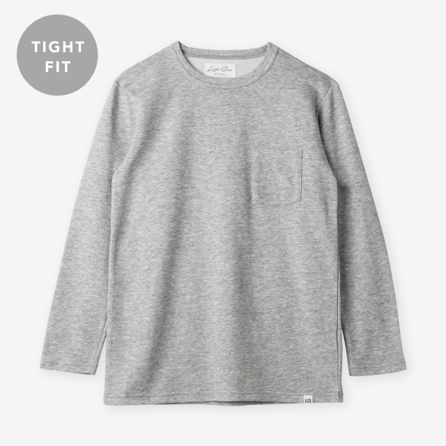 <span>Cotton&Silk Crew-neck Long Sleeve / Grey</span>【TIGHT FIT】コットン&シルク クルーネック長袖Tシャツ / グレー
