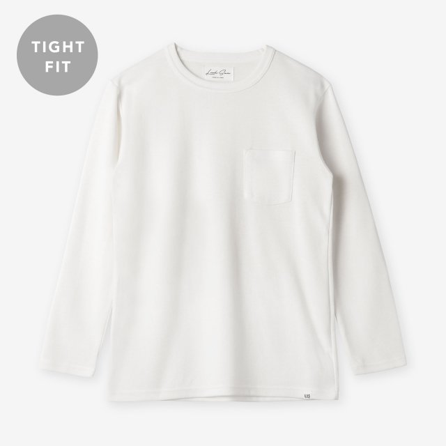 <span>Cotton&Silk Crew-neck Long Sleeve / White</span>【TIGHT FIT】コットン&シルク クルーネック長袖Tシャツ / ホワイト