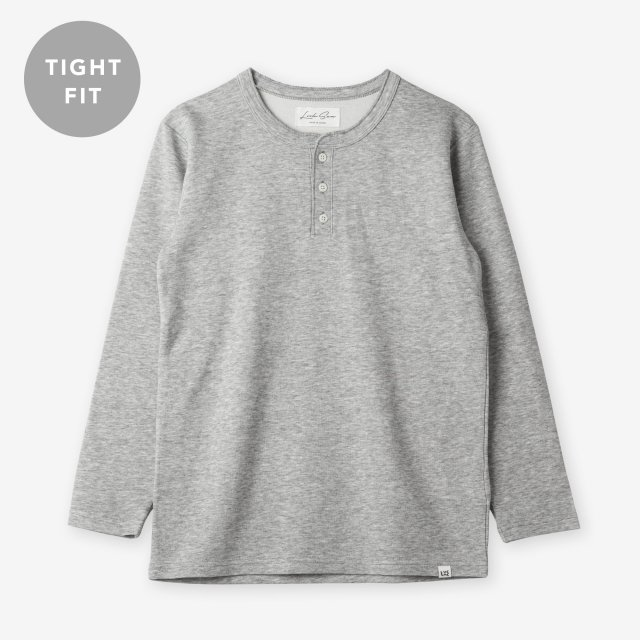 <span>Cotton&Silk Henley-neck Long Sleeve / Grey</span>【TIGHT FIT】コットン&シルク ヘンリーネック長袖Tシャツ / グレー