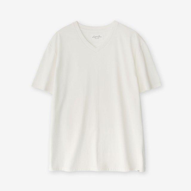 <span>Cotton&Silk V-neck Jersey T-shirts / Off White</span>コットン&シルク Vネック天竺Tシャツ / オフホワイト