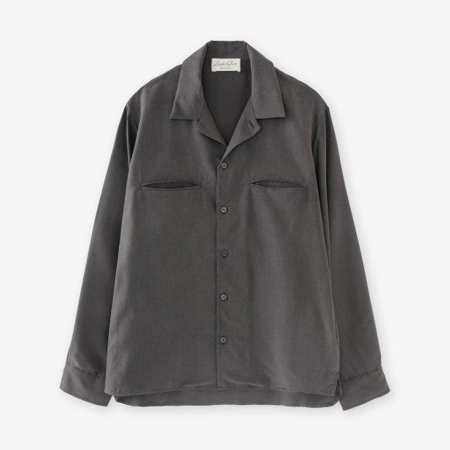 シルク 開襟シャツ / チャコールグレイ