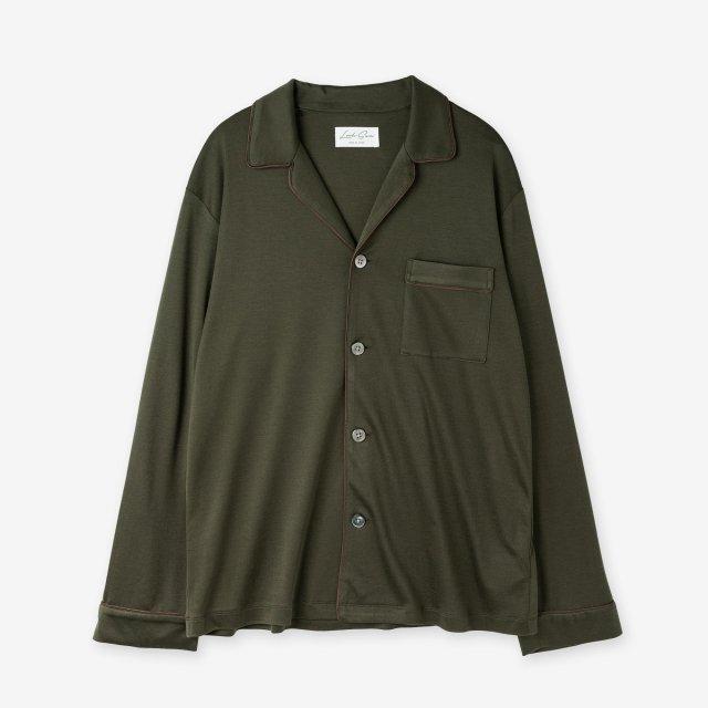 絹紡シルク パジャマシャツ / カーキ