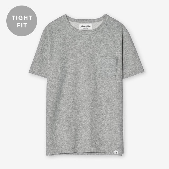 <span>Cotton & Silk Crew-neck T-shirts / Grey</span>【TIGHT FIT】コットン&シルク クルーネックTシャツ / グレー