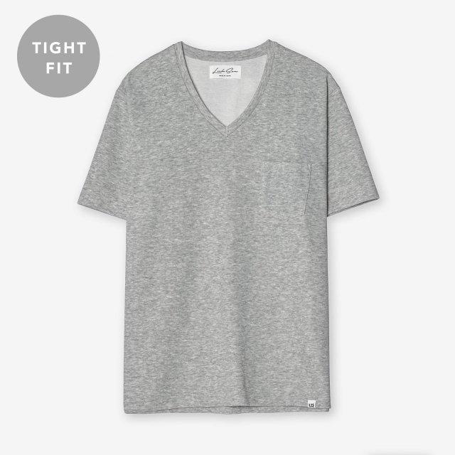 <span>Cotton&Silk V-neck T-shirts / Grey</span>【TIGHT FIT】コットン&シルク VネックTシャツ / グレー