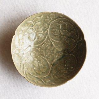 田中大喜作 緑淡彩牡丹文鉢