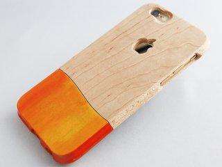 ウッドケース for iPhone オレンジ【機種限定 永久保証付】落下防止 握りやすい おしゃれ  な ケース