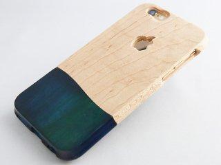 オーダーメイド 永久保証  (壊れても安心 無償交換 )  【 ウッドケース for iPhone ブルー】 無垢材 木のぬくもり   握りやすい    おしゃれ な ケース 落下防止  全機種 対応