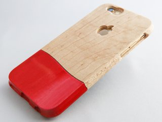 オーダーメイド  永久保証  (壊れても安心 無償交換 ) 【 ウッドケース for iPhone レッド】 無垢材 木のぬくもり 落下防止 握りやすい おしゃれなウッドケース  全機種 対応!