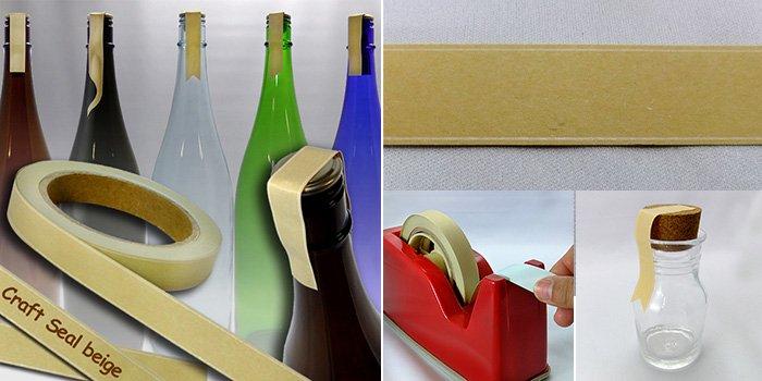 コルク付規格瓶 クラフトシール ベージュ craftseal-beige 20m