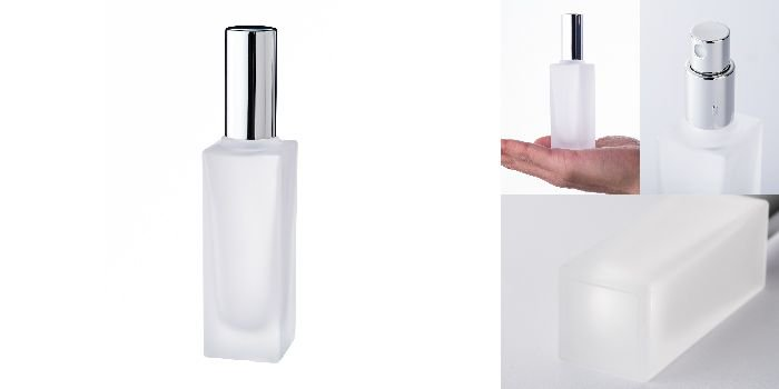 スプレー付瓶 30ml角瓶スプレー(フロスト)銀