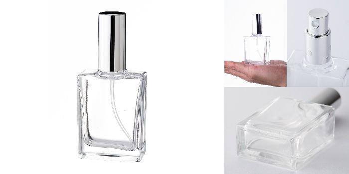 スプレー付瓶 30ml平角瓶スプレー 銀