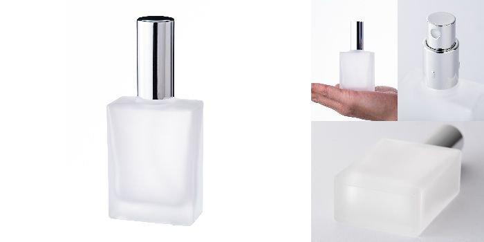 スプレー付瓶 30ml平角瓶スプレー(フロスト)銀