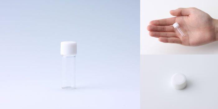 キャップ付瓶 スクリュー管 NO.02 透明 白CAP
