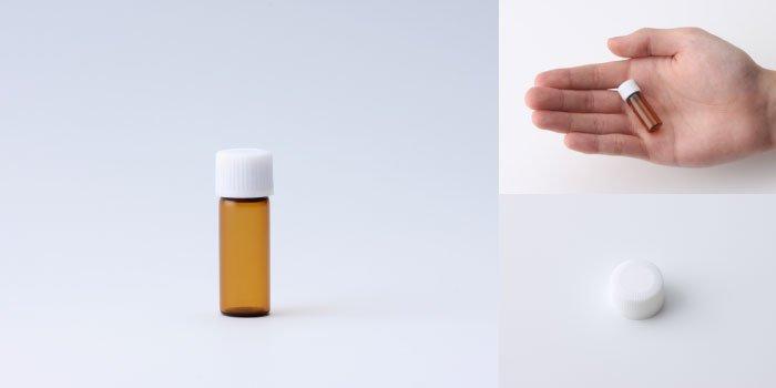 キャップ付瓶 スクリュー管 NO.02 茶 白CAP