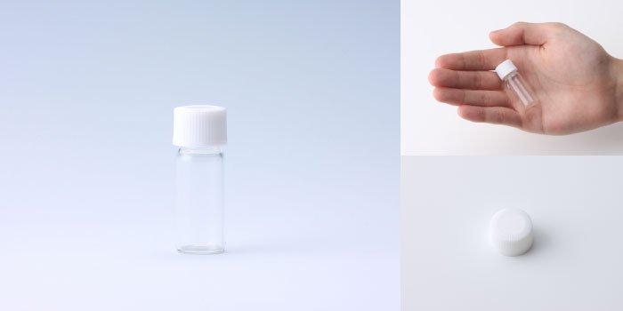 キャップ付瓶 スクリュー管 NO.01 透明 白CAP