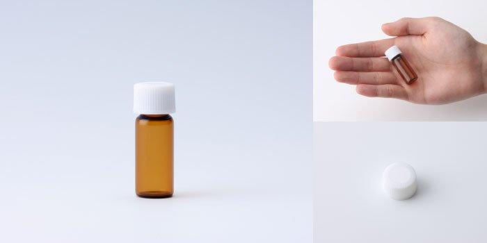 キャップ付瓶 スクリュー管 NO.01 茶 白CAP