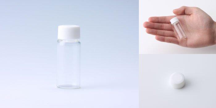 キャップ付瓶 スクリュー管 NO.3L 透明 白CAP