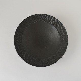 リム皿 (黒)  信楽 [山本雅則]