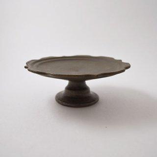 彫刻コンポート皿 13センチ サビ釉 信楽  [古谷浩一]