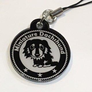 ミニチュアダックス オリジナルアクリルキーホルダー 犬 イヌ グッズ 直径3cm 黒吹きアクリル