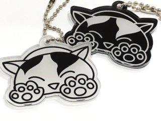 かわいいにゃんこキーホルダー 選べる2デザイン オリジナルイラスト 猫ネコグッズ 縦4cm×横5cm 黒吹きアクリル