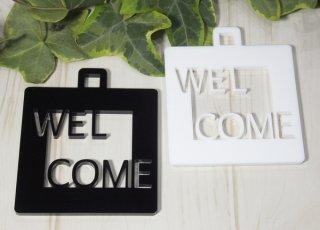 アクリル製 サインプレート「WELCOME」 選べるカラー ホワイト&ブラック ウェルカムボード ドアプレート 壁掛け 白黒