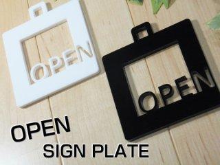 アクリル製 サインプレート「OPEN」 選べるカラー ホワイト&ブラック オープン ドアプレート 壁掛け 白黒