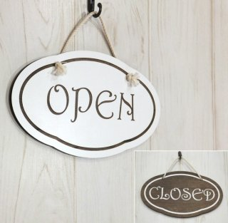 オープン&クローズ看板 おしゃれな 木製 オープンプレート OPEN CLOSED 両面 サイン 営業中