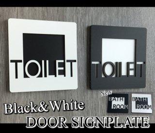 おしゃれな トイレプレート 選べる ブラック&ホワイト 木製 壁付け サインプレート ドアプレート 立体 凸凹