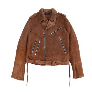Shearling Biker Jacket / Brown