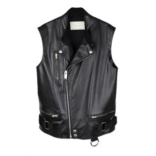 Leather Biker Vest / Black