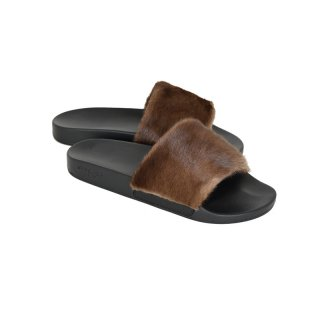 SLIDE FLAT SANDAL / BROWN