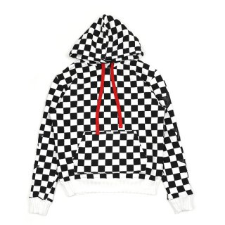 Check Star Pullover Hoodie / Black/White