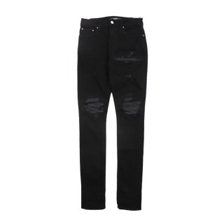 Mx1 Leather Patch Jeans / Black