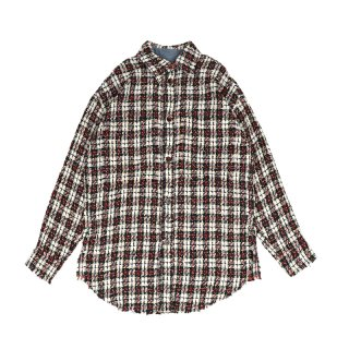 Tweed Over Shirt / Green/Red