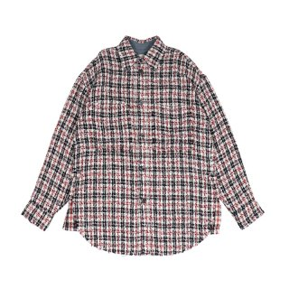 Tweed Over Shirt / Navy/Red