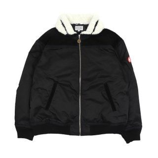 SUEDE SHOULDER BOMBER JACKET / Black