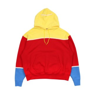 COLOUR PANEL HEAVY HOODY / Red