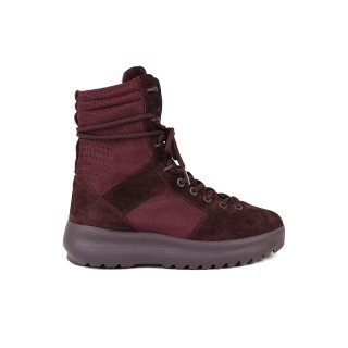 THICK SUEDE COMBAT & NYLON MILITARY BOOTS / Oxblood
