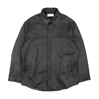 LEATHER SHIRT JACKET /Black