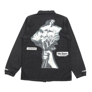 FAKE FLOWERS DENIM COACH JACKET