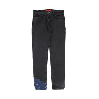 DENIM PANTS W/ PAISLEY DETAILING