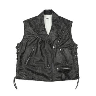 Crackle Leather Riders Vest