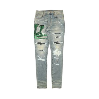 Art Patch Snake Jeans