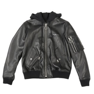 LEATHER HOODIE BOMBER