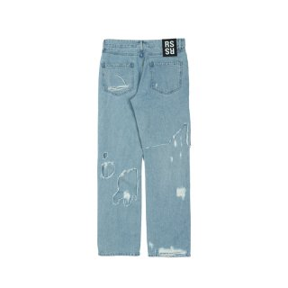 RELAXED FIT DESTROYED DENIM PANTS