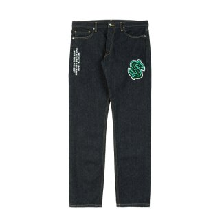 DOLLAR CHENILL PATCH DENIM PANTS