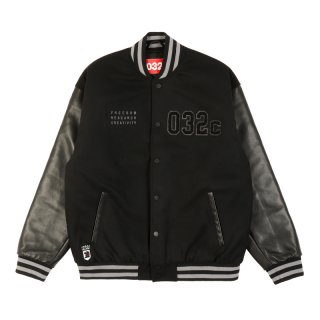 FELT COLL JACKET WITH PATCHES AND LEATHER SLEEVES