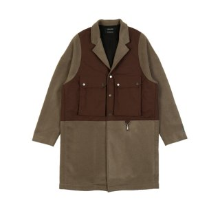 WOOL COAT WITH PATCHED VEST