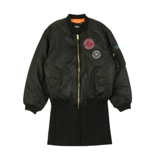 NYLON PATCHED BOMBER WITH WOOL ELONGATION